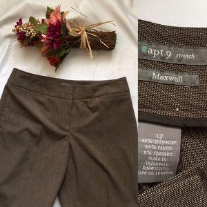 Apt.9 Maxwell Stretch Brown Wide leg pants Sz: 12